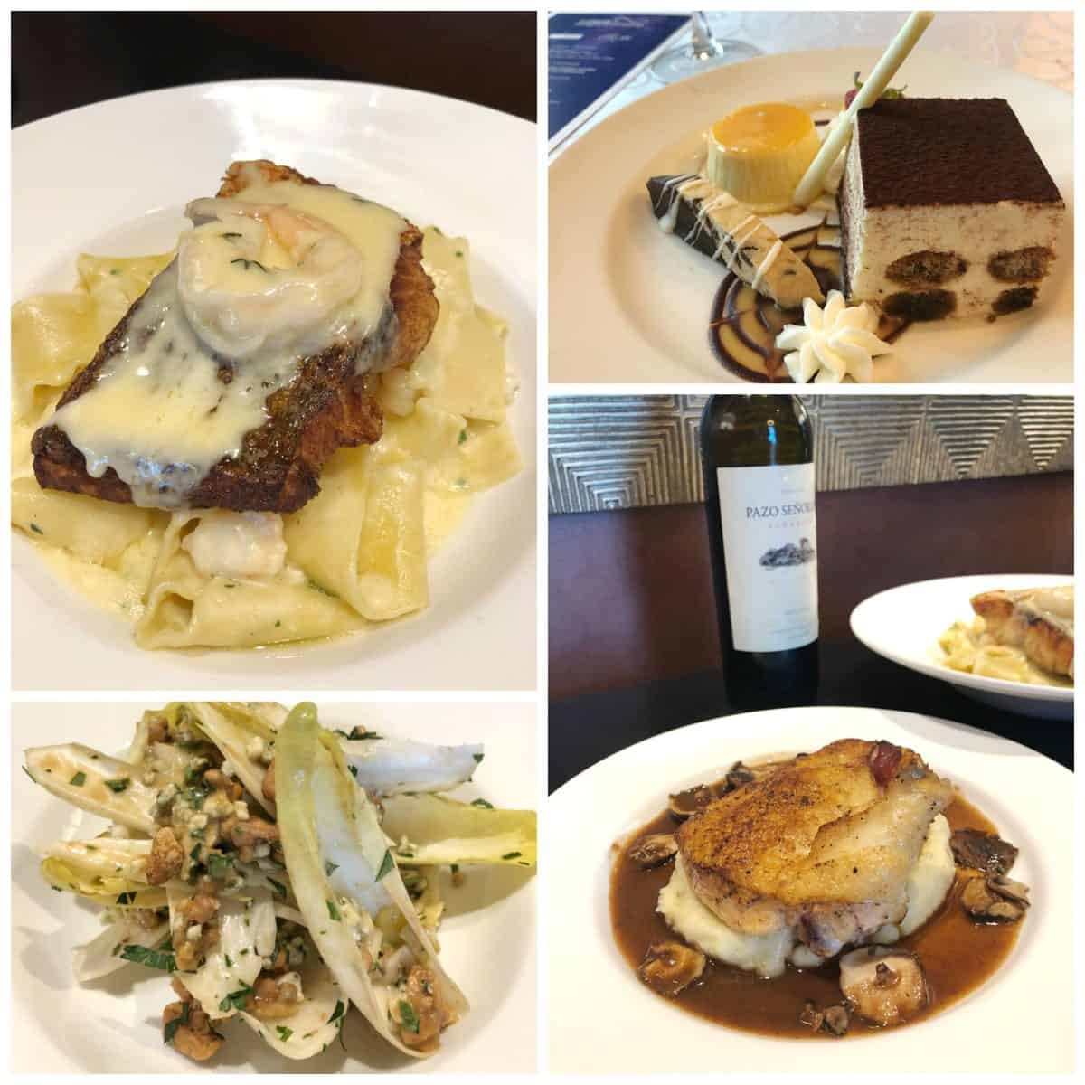 4 photo collage of dessert, appetizer, pasta dish, and fish dish.