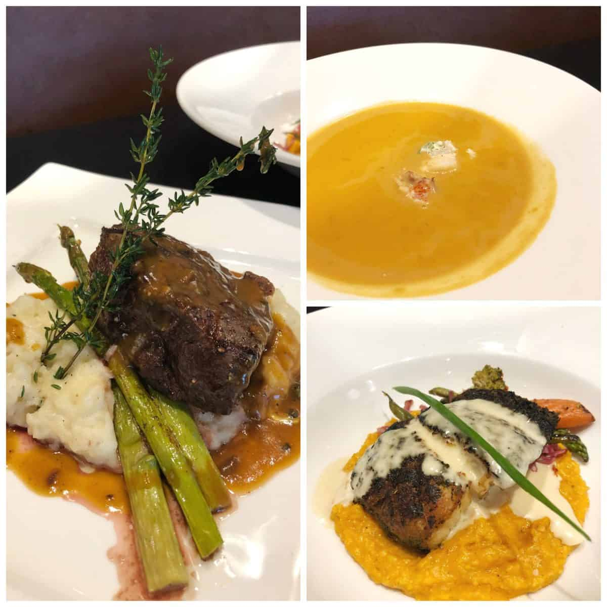 3 photo collage of steak over mashed potatoes with gravy and asparagus, soup, and fish.