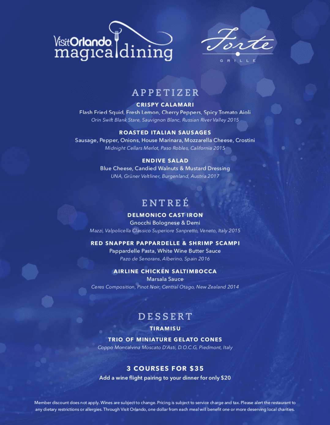 Reunion Resort Magical Dining Forte Grille Menu