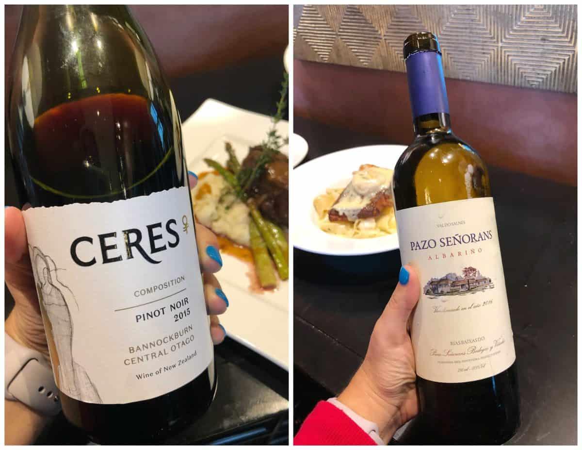 2 photo collage of Ceres Pino Noir wine and Pazo Senorans wine.