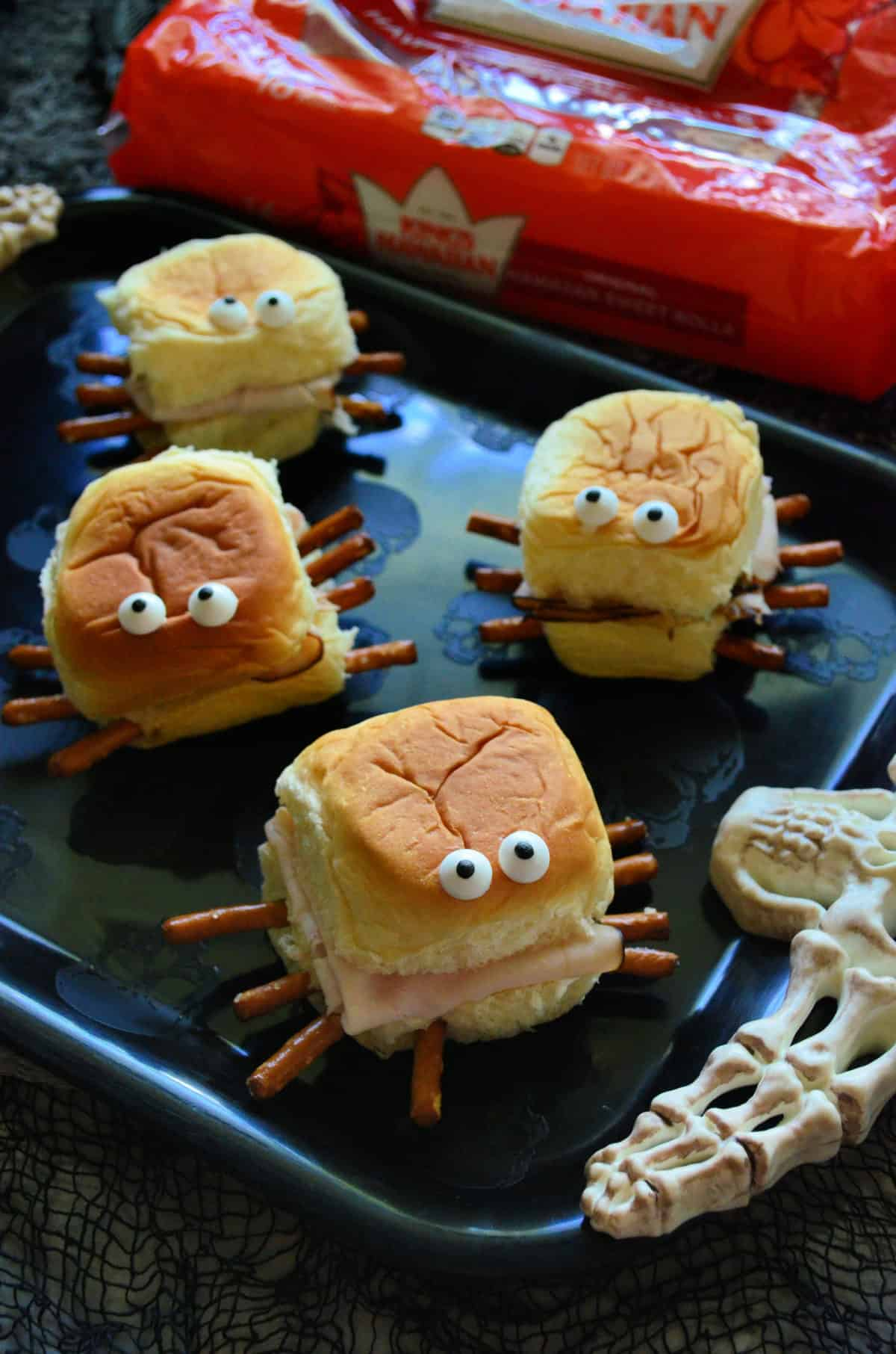 Halloween Turkey & Cream Cheese Spider Sandwiches