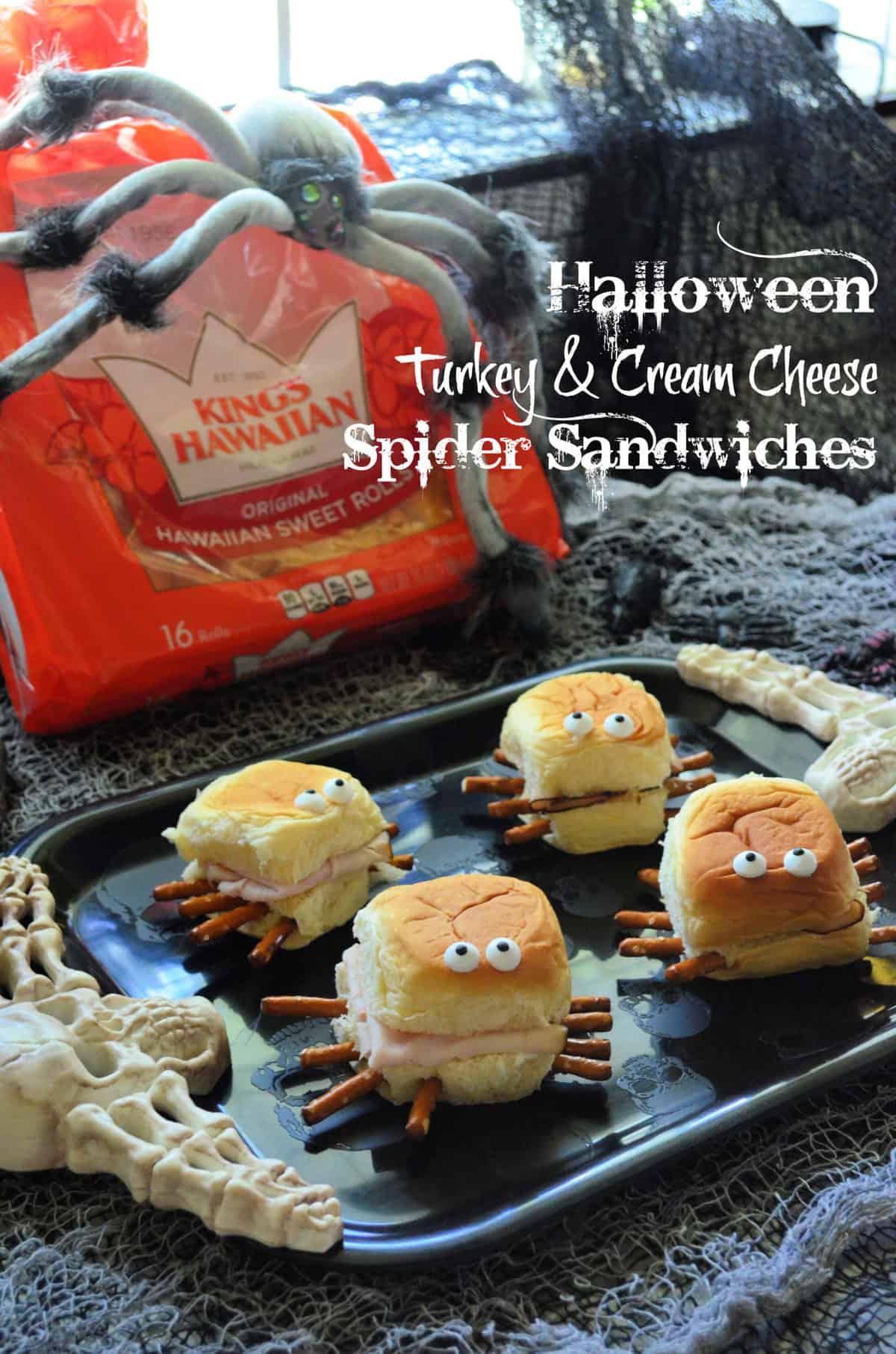 Halloween Turkey & Cream Cheese Spider Sandwiches