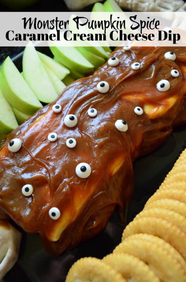 Monster Pumpkin Spice Caramel Cream Cheese Dip with pinterest title text.