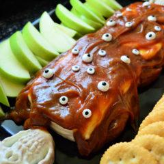 Monster Pumpkin Spice Caramel Cream Cheese Dessert #HalloweenTreatsWeek