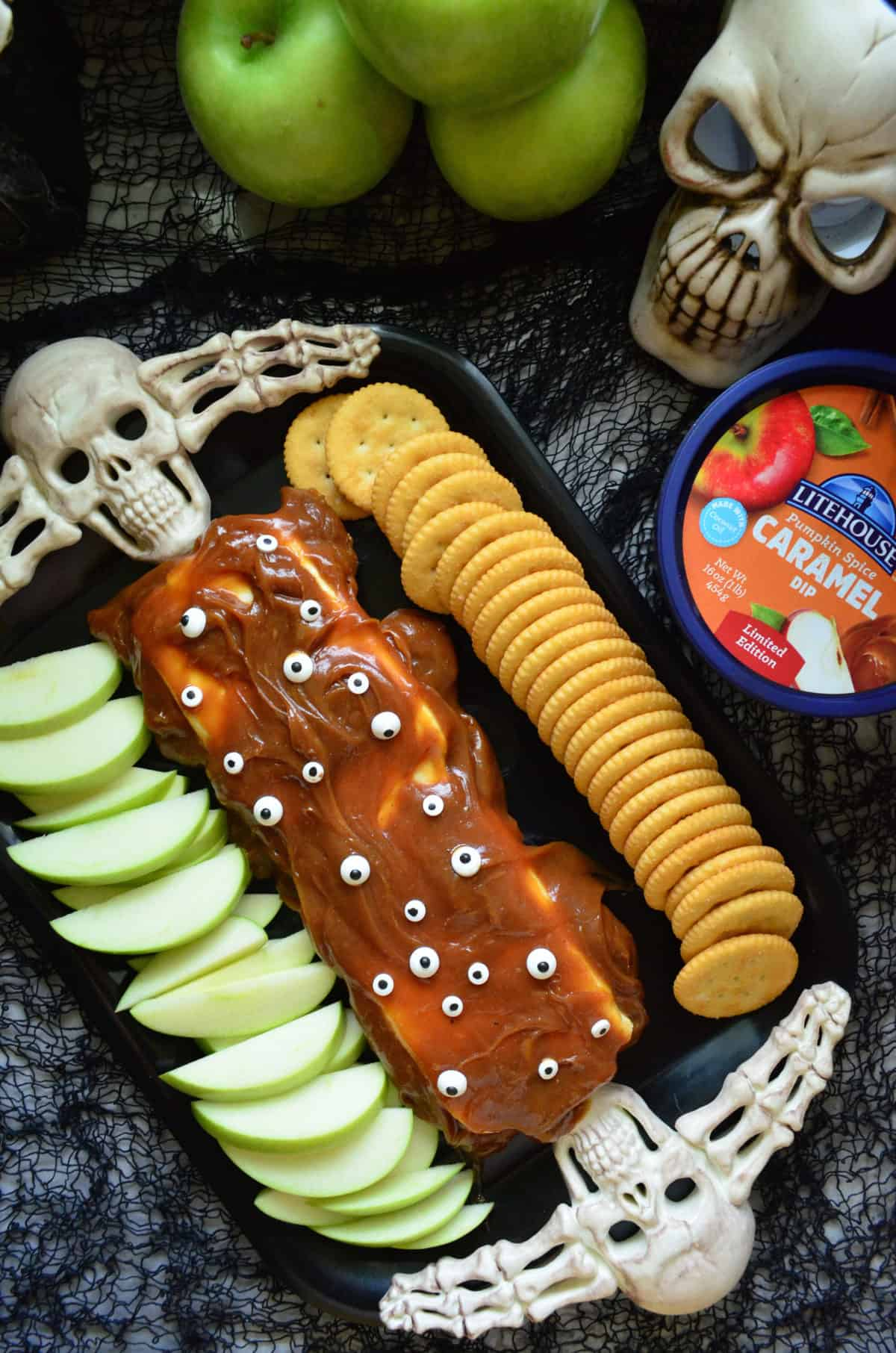 Monster Pumpkin Spice Caramel Cream Cheese Dip using Litehouse Caramel