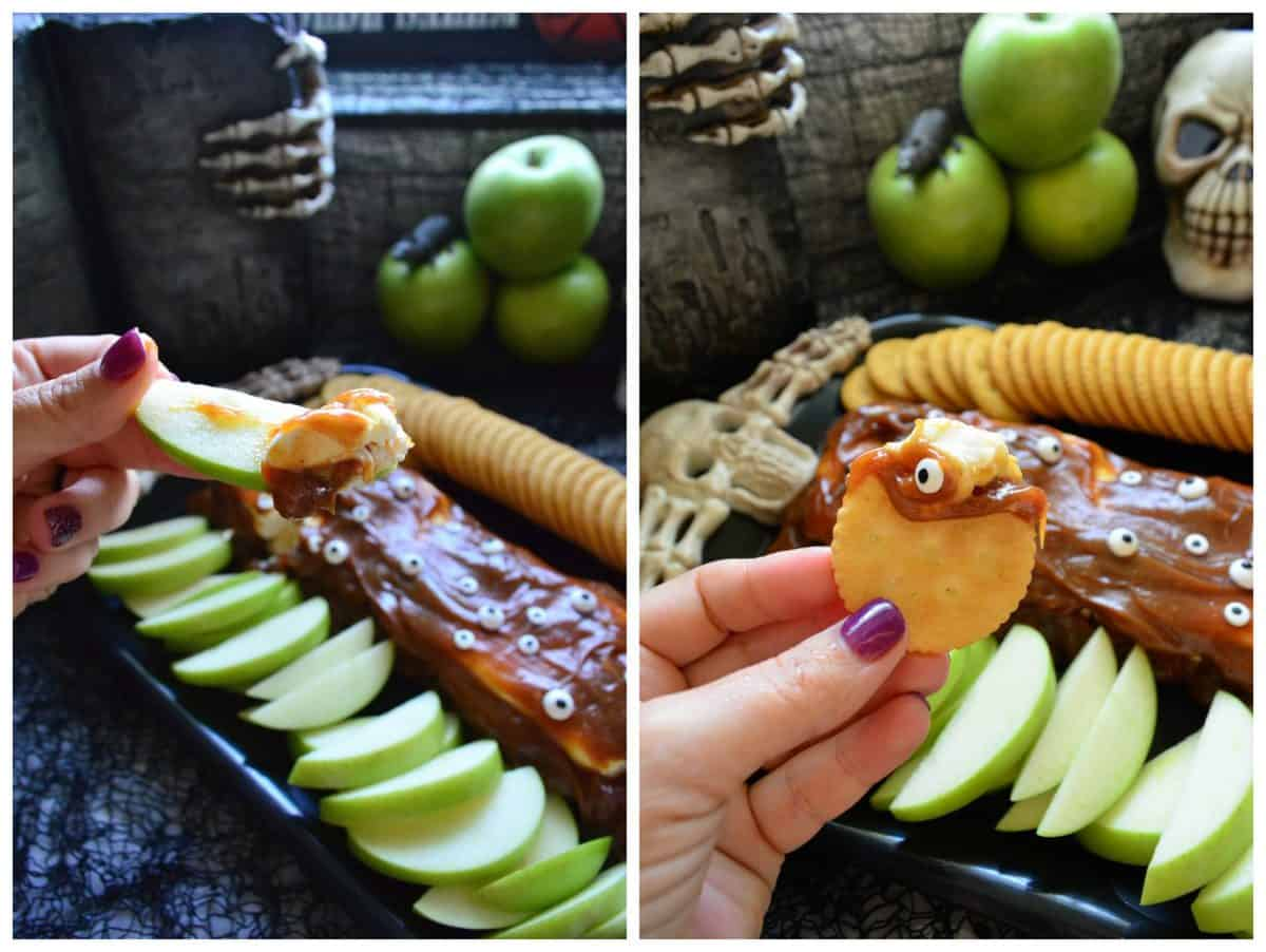 Monster Pumpkin Spice Caramel Cream Cheese Dip with Apples & Crackers #HalloweenTreatsWeek