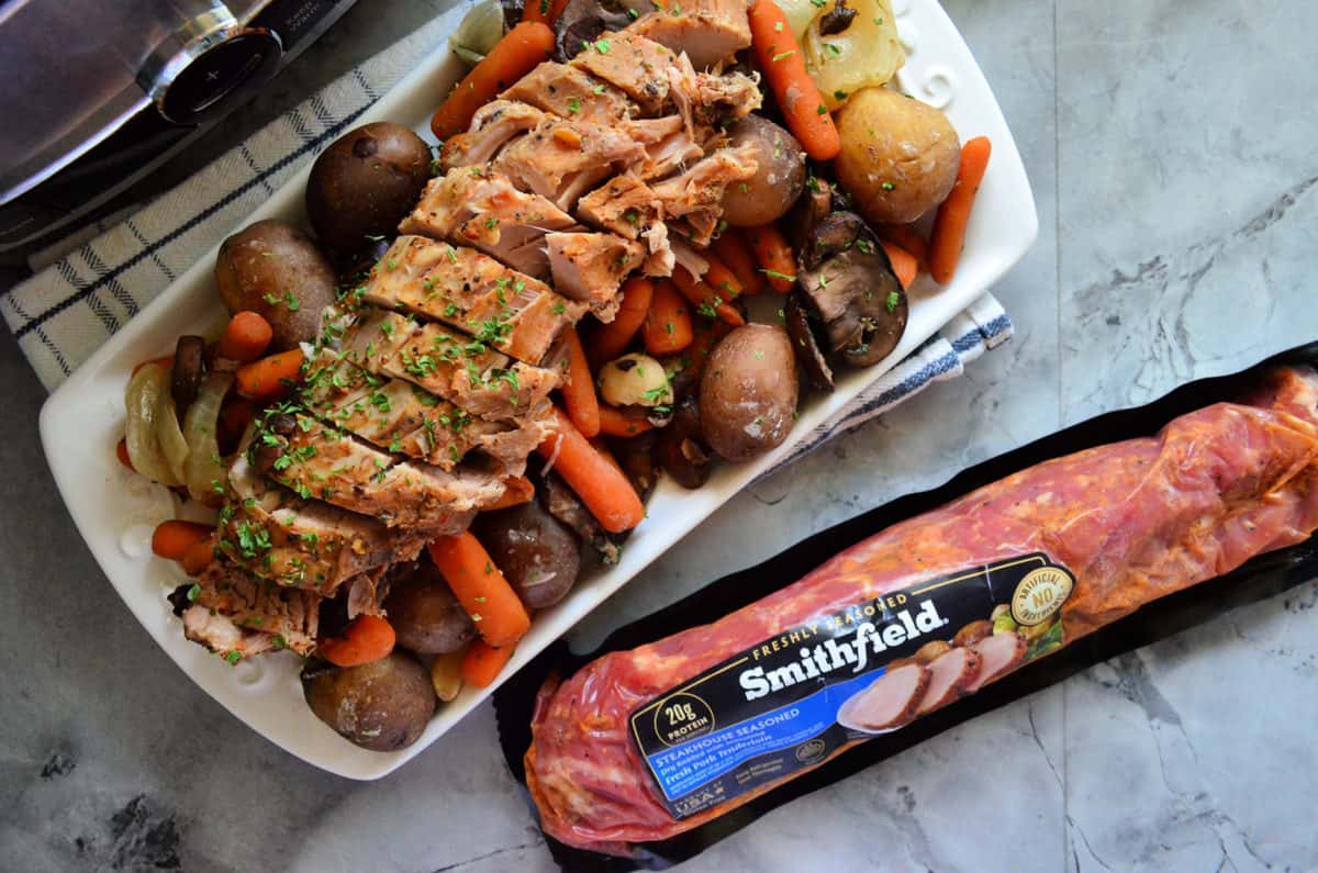 Slow Cooker Steakhouse Pork Tenderloin Dinner using Smithfield