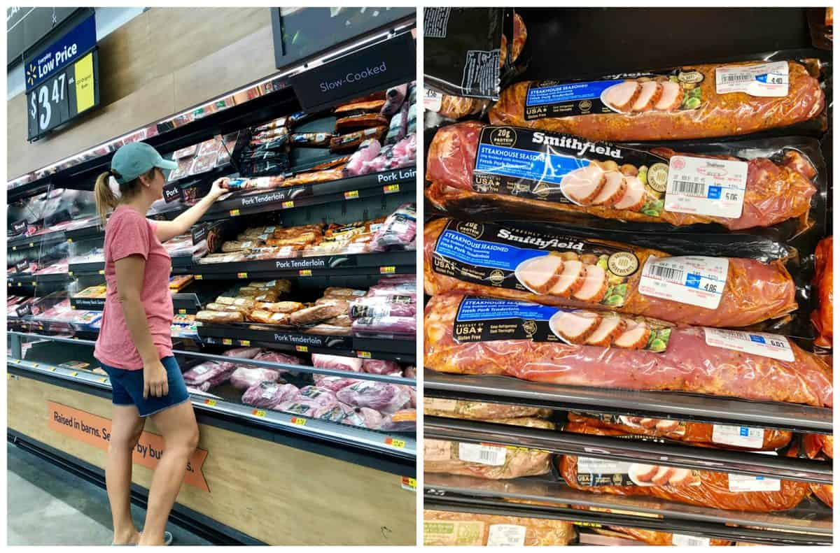 collage of Smithfield Steakhouse Pork Tenderloin at Walmart in aisle and closeup on shelf.