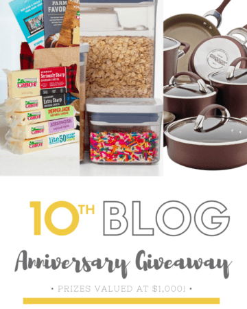 10th Blog Anniversary Giveaway text with photo of pots/pans, and more items.