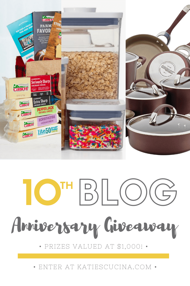 Collage of giveaway items including pot & pan set, food containers, and cabot cheese.