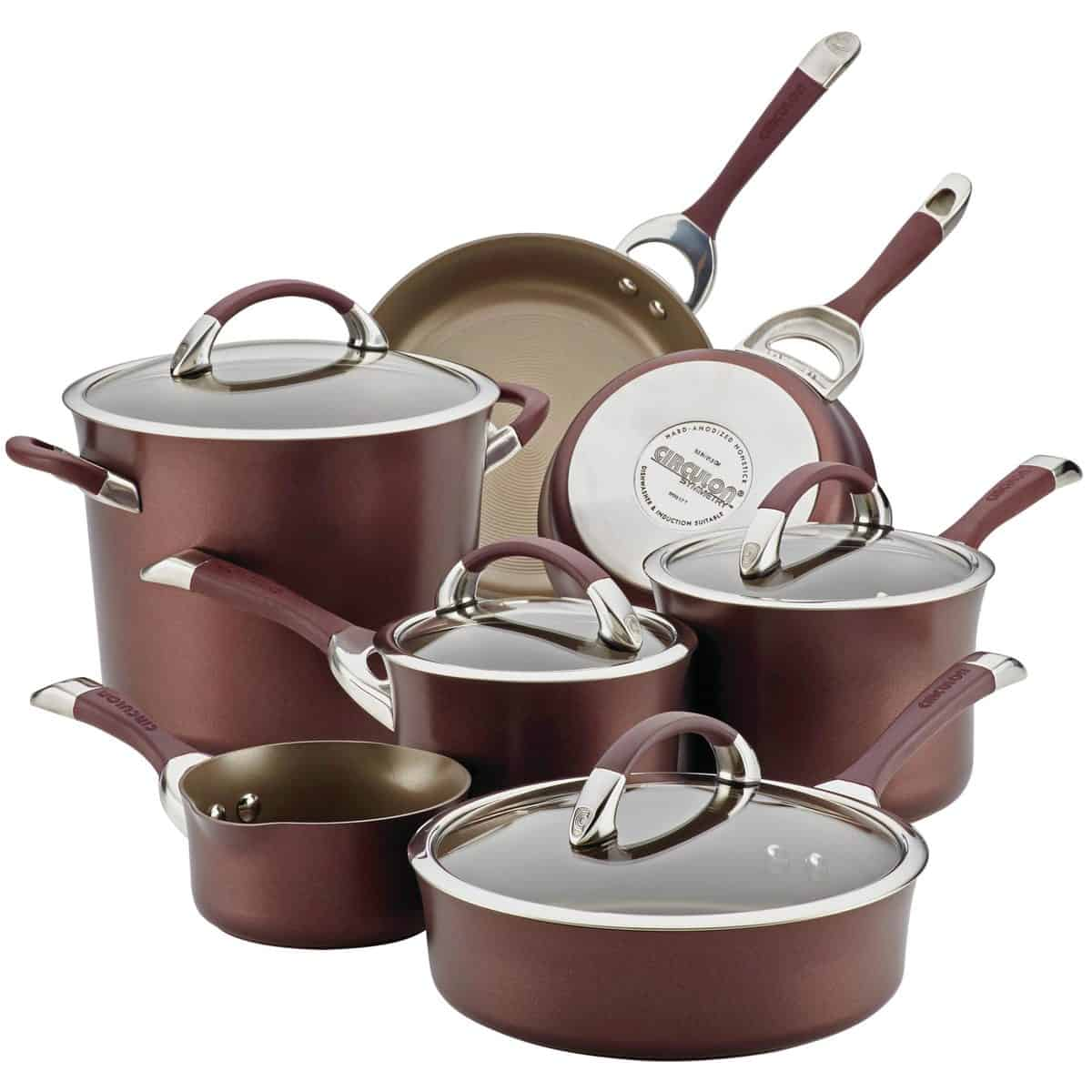 Circulon Symmetry Hard Anodized Nonstick 11-piece Cookware Set in Merlot color.