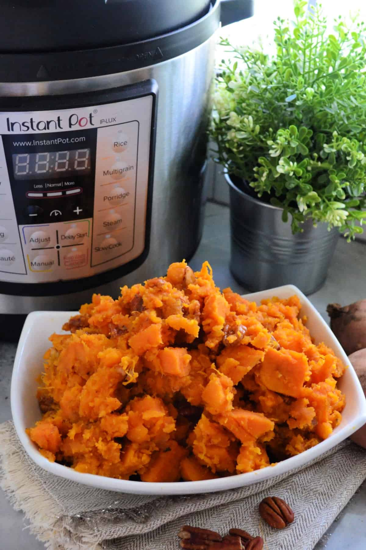Dish of sweet potatoes near pecans in front of instant pot.