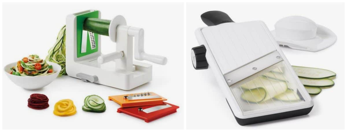 collage of OXO Tabletop Spiralizer & OXO Adjustable Hand-Held Mandoline Slicer.