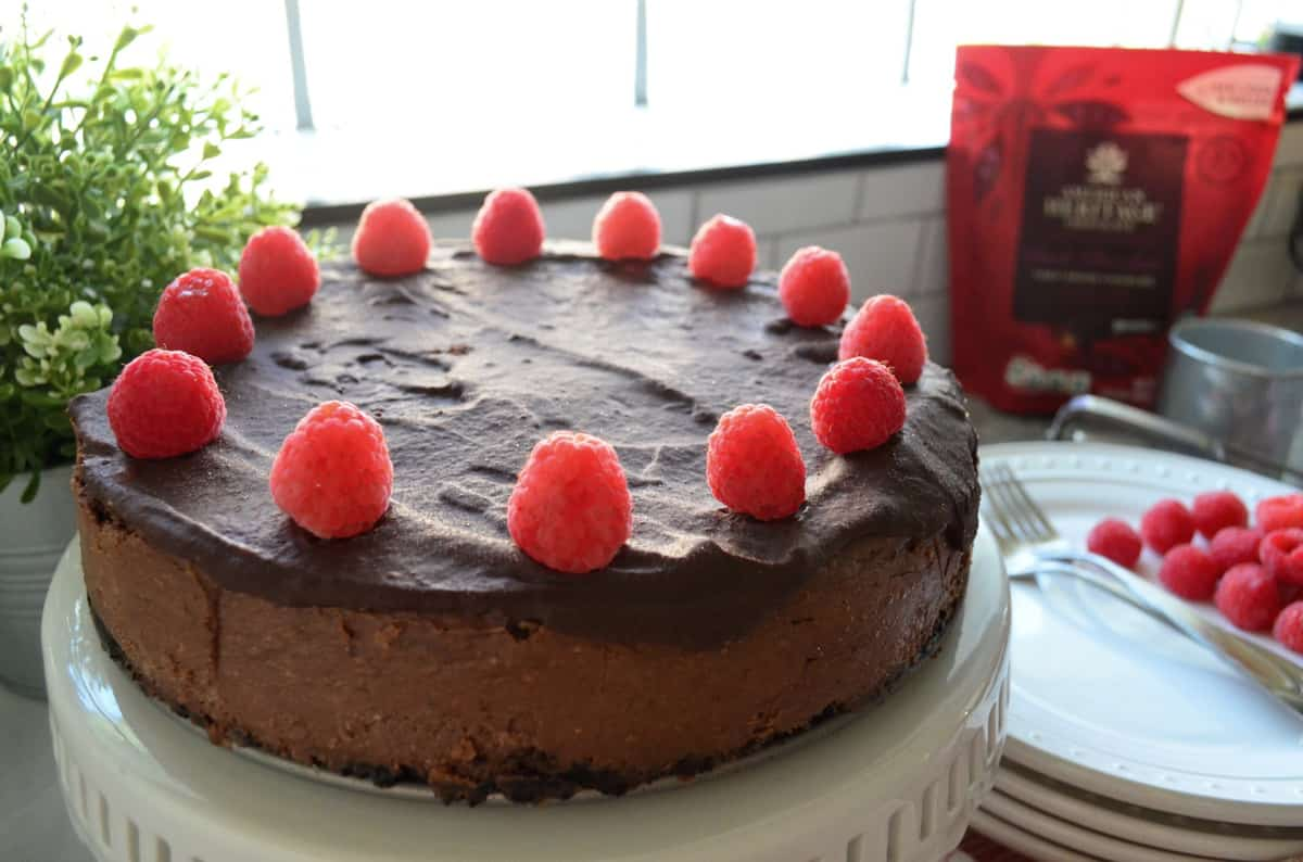 Dark Chocolate Cheesecake decorated with circle of raspberries on cake stand in front of window.