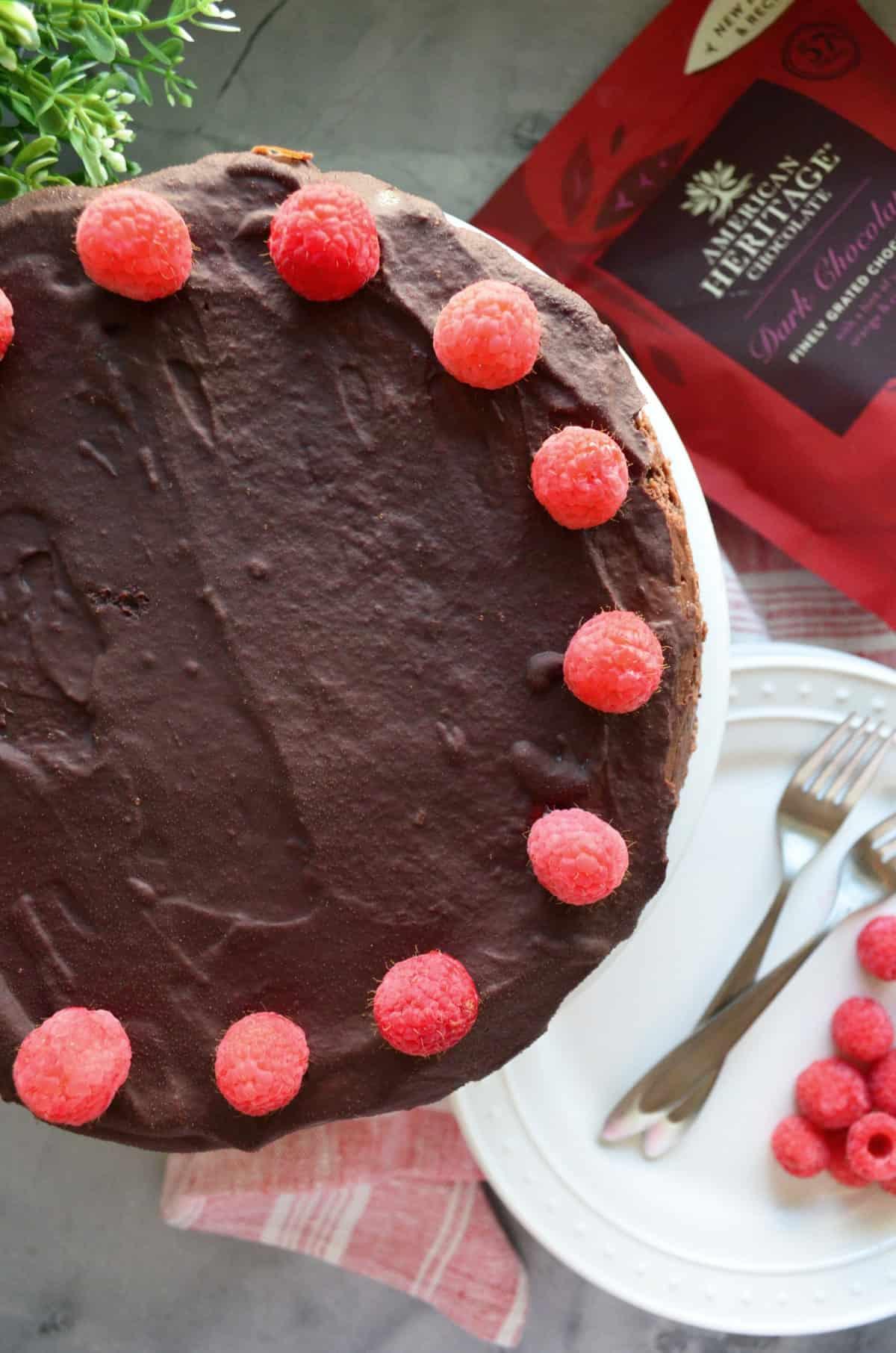 Dark Chocolate Cheesecake using AMERICAN HERITAGE CHOCOLATE