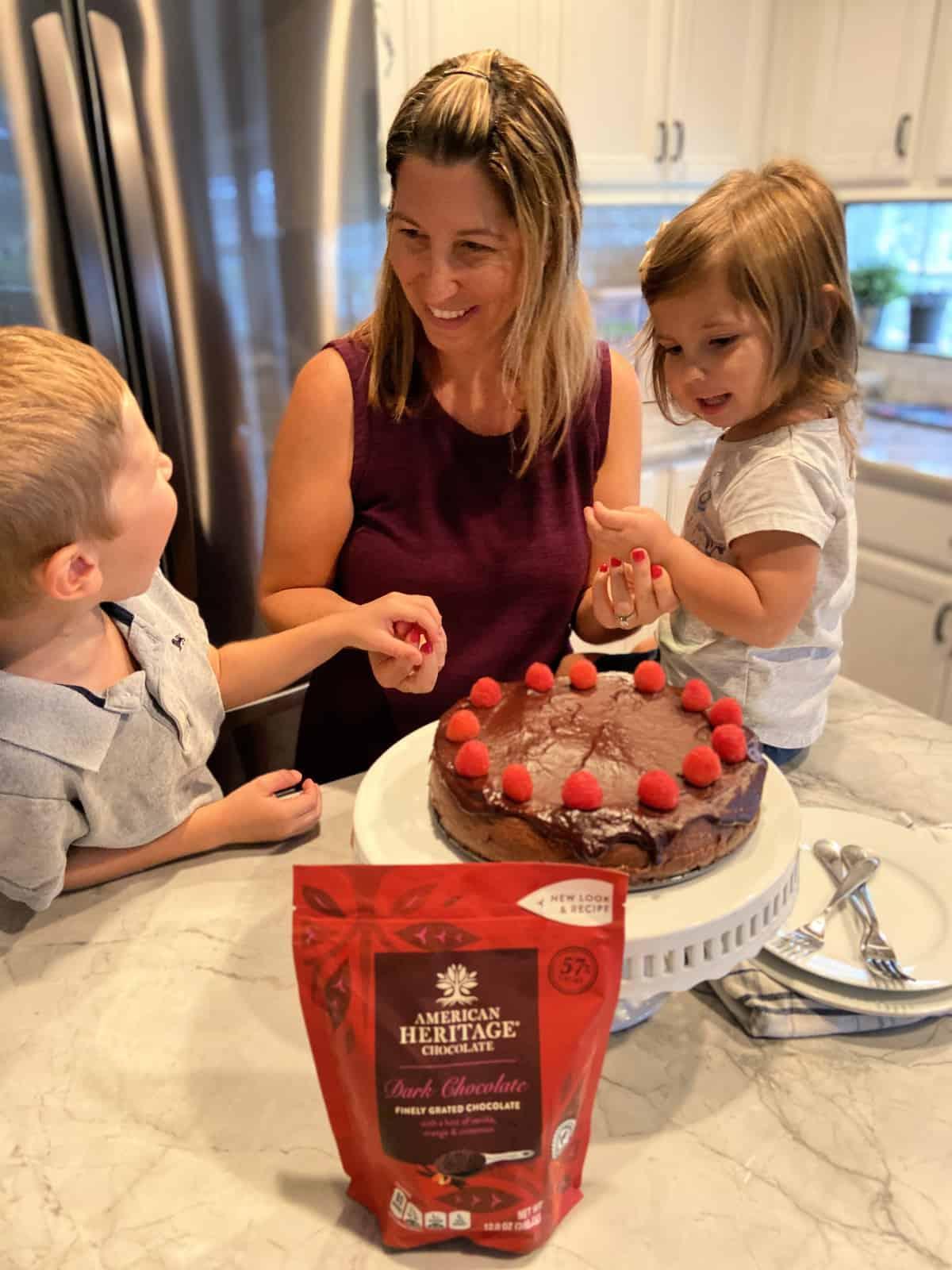 Family Around a Dark Chocolate Cheesecake
