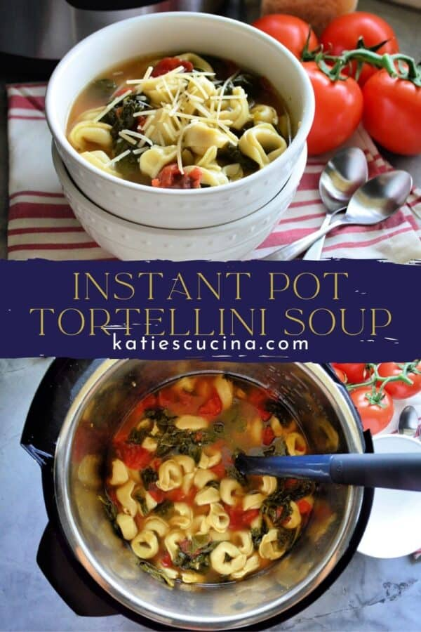 Two photos of tortellini soup split by text for Pinterest.