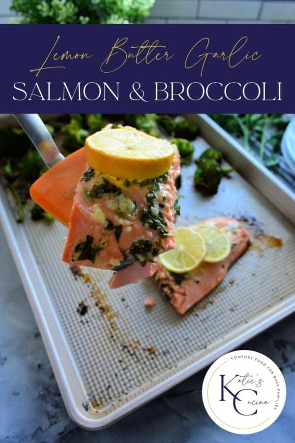 Orange spatula with a slice of salmon and lemon with recipe title text on image for Pinterest.