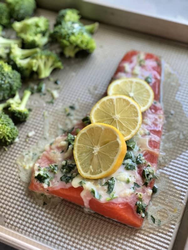 Sheet Pan Lemon Garlic Salmon Before Cooking