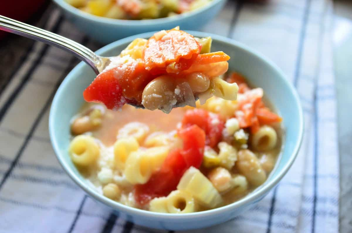 Spoonful of minestrone soup with carrot, bean, cheese, and tomato visible.