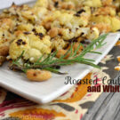 Plated Roasted Cauliflower and White Beans garnished with rosemary.