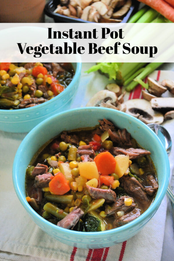 Two Bowls of Instant Pot Vegetable Beef Soup with title text for pinterest.