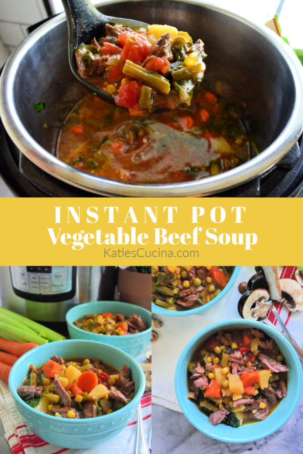 Vegetable Beef Soup collage with title text for pinterest.