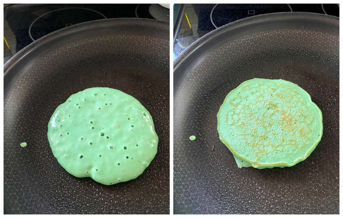 2 process photos of green pancake in pan with flipped and not flipped version.