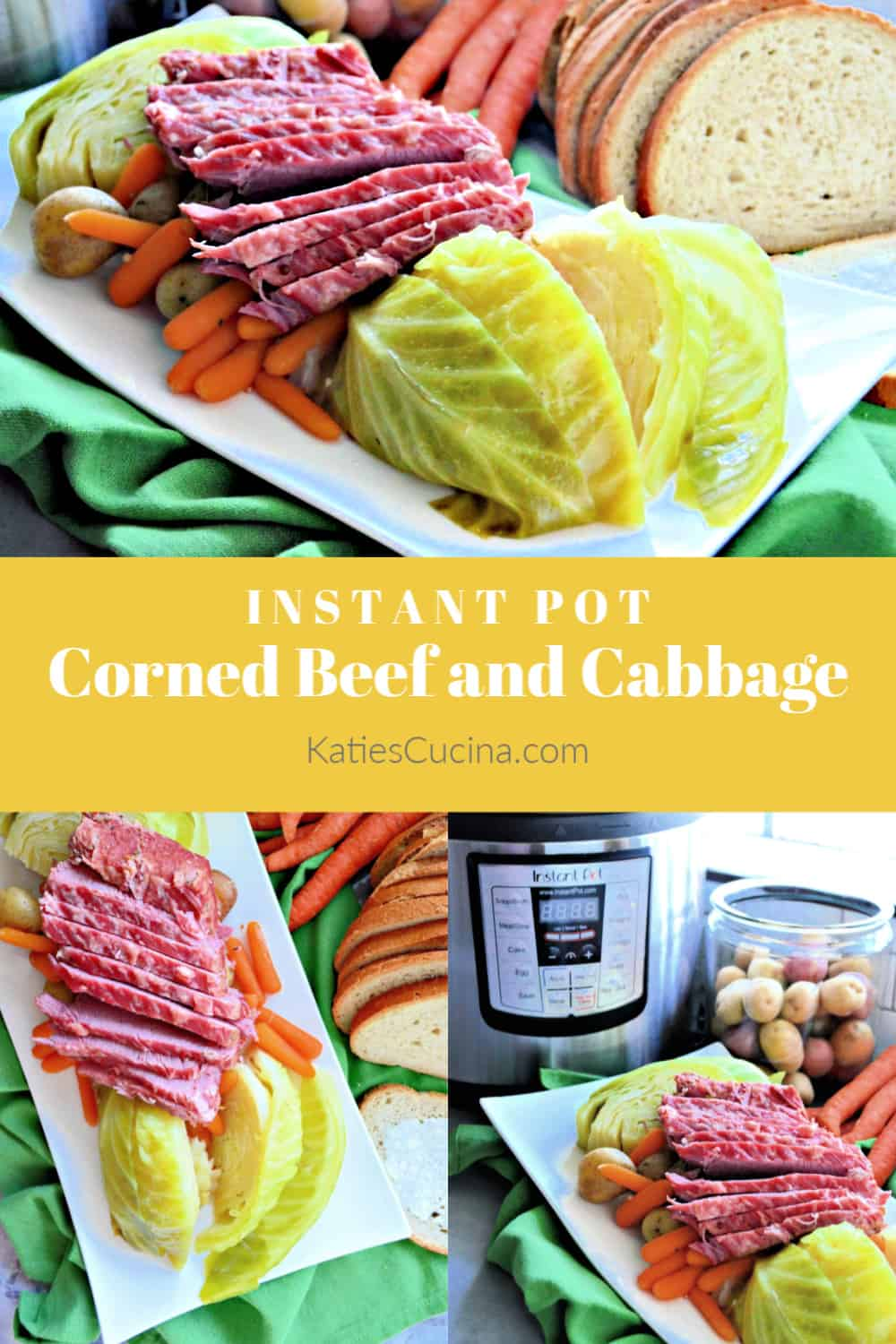 Instant Pot Corned Beef and Cabbage photo collage with text