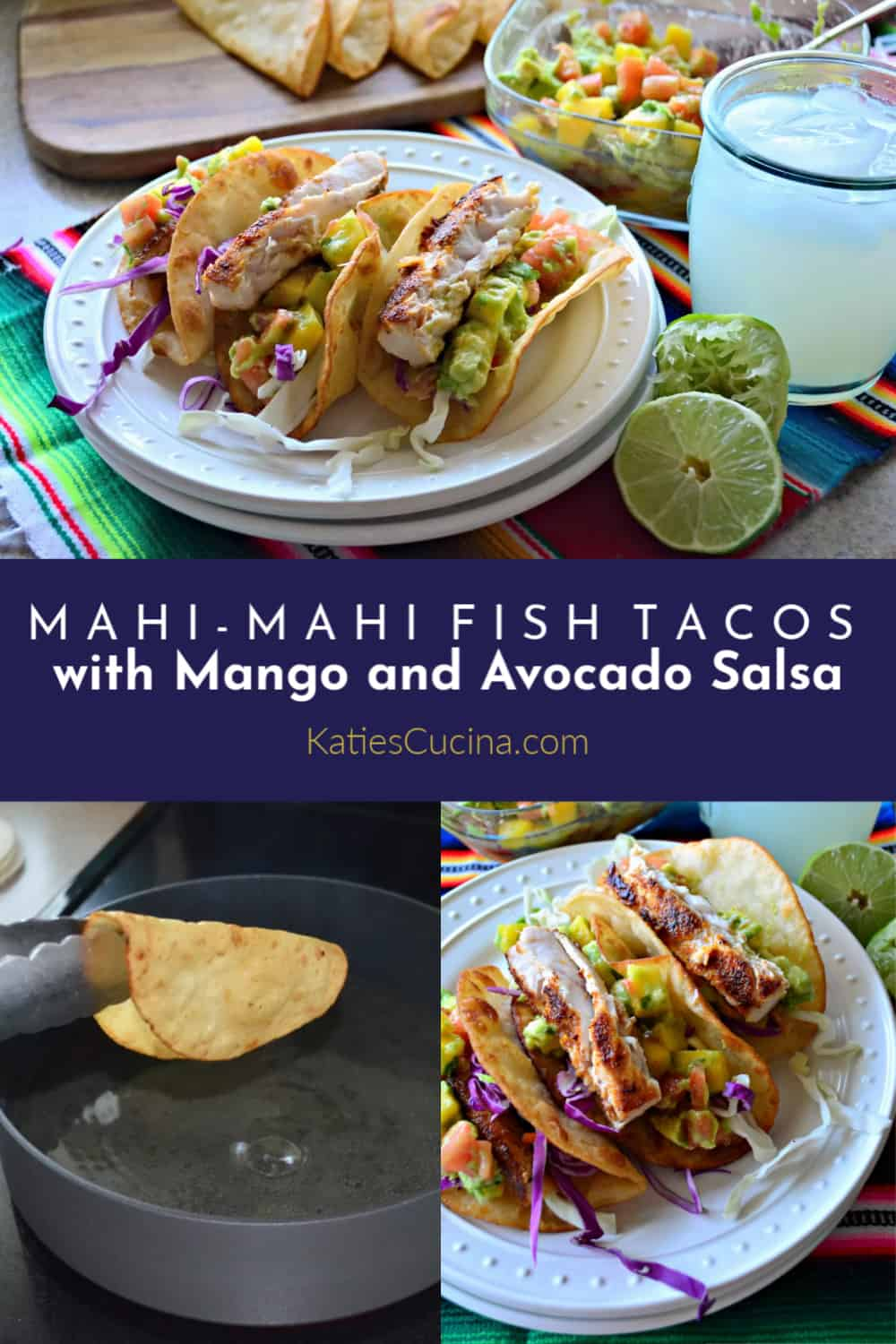 Mahi-Mahi Fish Tacos with Mango and Avocado Salsa collage with text