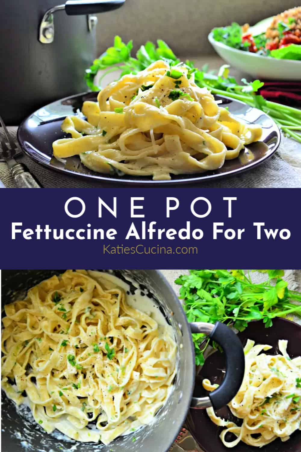 One Pot Fettuccine Alfredo For Two photo collage with text