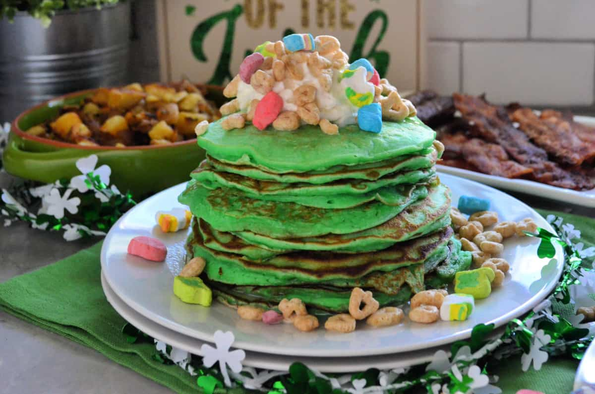 Horizontal St. Patrick's Day Lucky Charms Pancakes