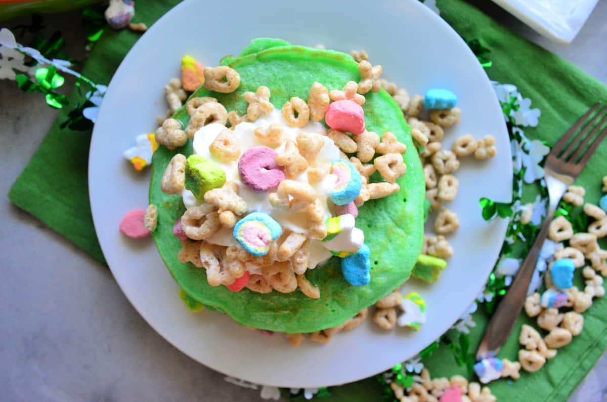 Top view of St. Patrick's Day Lucky Charms Pancakes