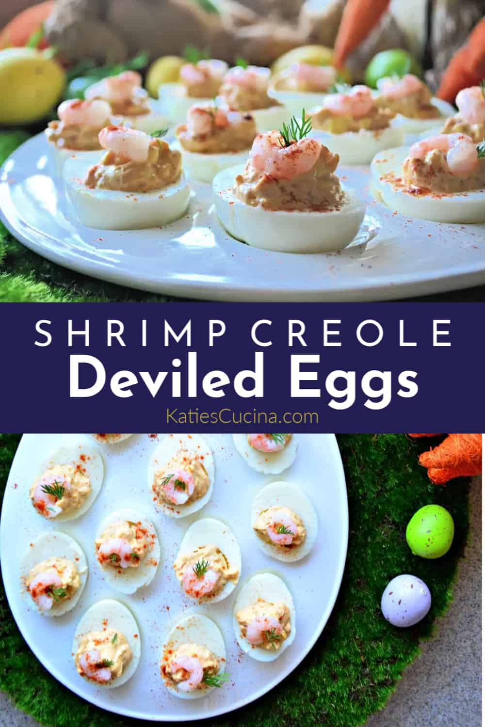 Shrimp Creole Deviled Eggs With Text and collage