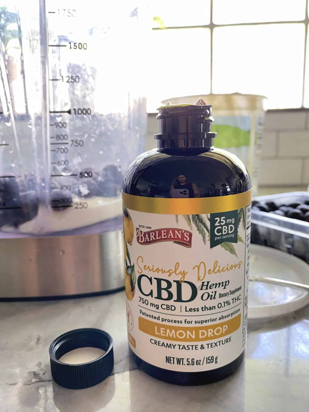 Barleans Seriously Delicious CBD Lemon Drop bottle of 750 mg CBD on countertop.