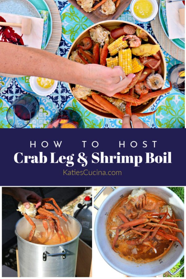 Photo collage and title text of Crab Leg & Shrimp Boil for Pinterest.