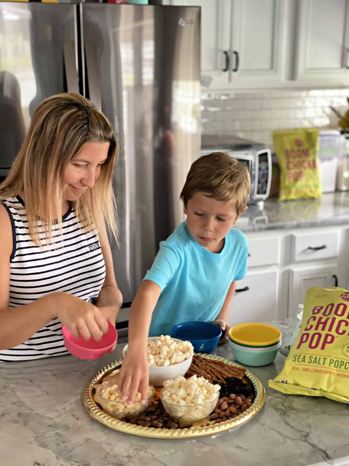 Creating snack bowls from a Family-Friendly Popcorn Snack Board