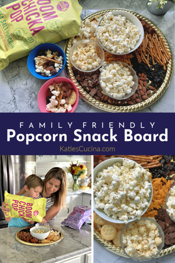 Popcorn Snack Board Photo Collage including Boom Chicka Pop and title text for pinterest.