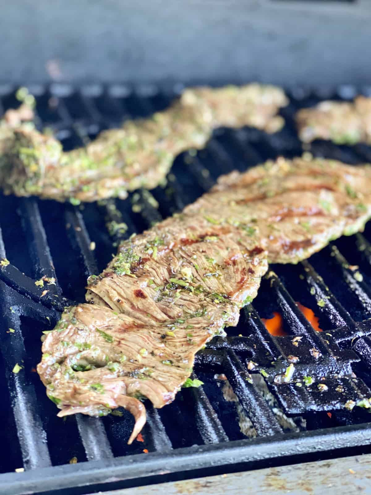 closeup piece of Grilled Skirt Steak with Chimichurri Sauce on the grill.