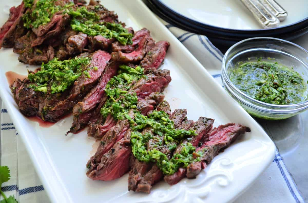 Grilled Skirt Steak With Chimichurri Sauce Katie S Cucina