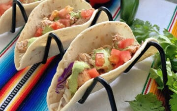 Horizontal Photo of Blackened Swordfish Tacos