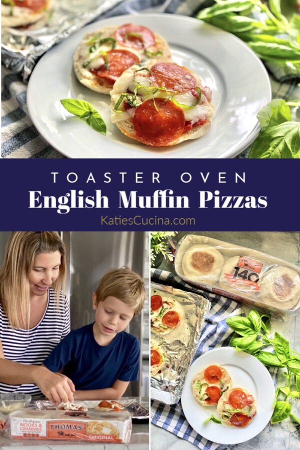Collage of english muffin pizzas with kids creeating them and text on photo.