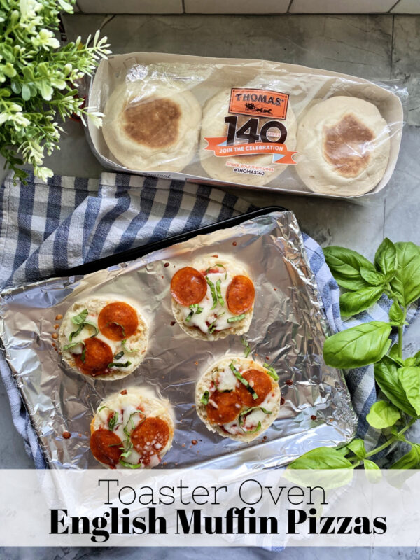 Top View of Garnished Toaster Oven English Muffin Pizzas with text on image.
