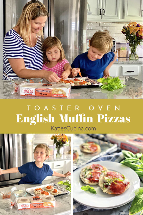 Collage of three photos with children creating English Muffin Pizzas.