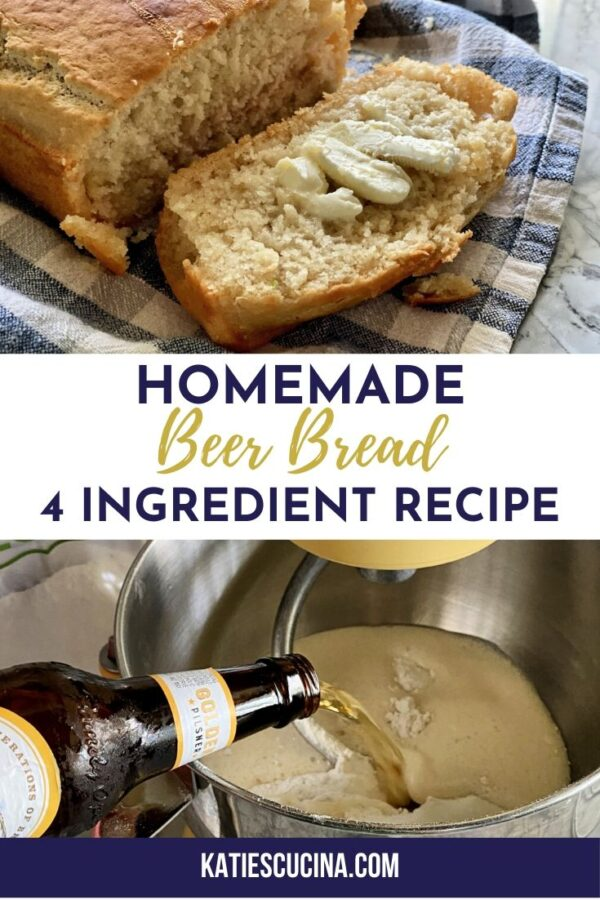 Two photo collage of beer bread with title text for Pinterest.