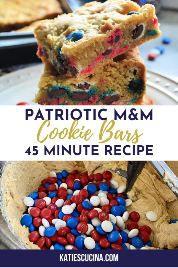 Two photos of M&M Cookie Bars with text for Pinterest.