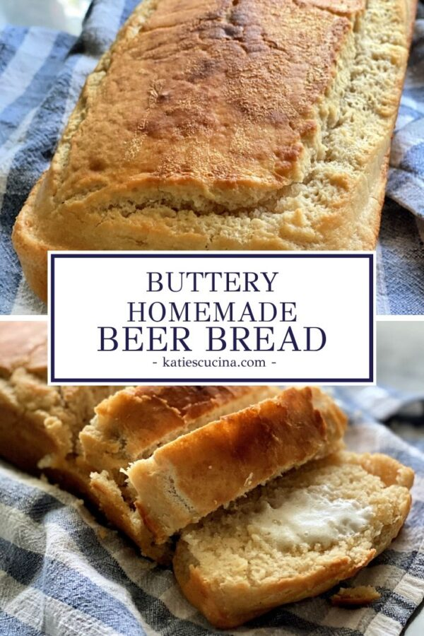 two different angles of Beer Bread on blue checkered tablecloth with title text for Pinterest.