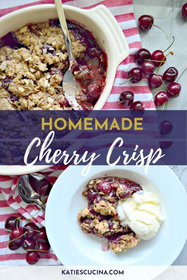 Overhead of baked cherry crisp with a scoop taken out with a spoon and text on image.