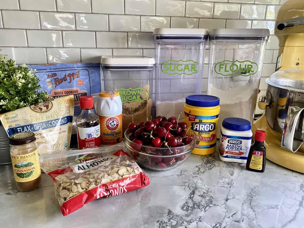 Ingredients: sugar, flour, almonds, cherries, cinnamon, corn starch, vanilla extract, baking soda, etc.
