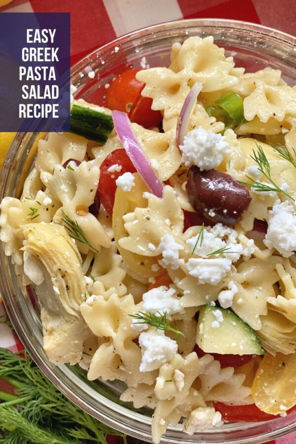 top view of pasta salad with text on photo.